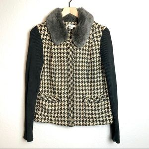 CAbi Houndstooth Faux Fur Collar Jacket